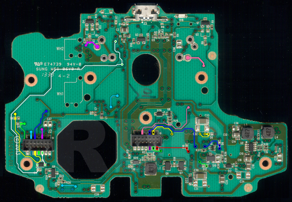 xb1 controller pcb scans, traces and info 1537 xbox 360 controller buttons explained xbox 360 controller motherboard diagram #3